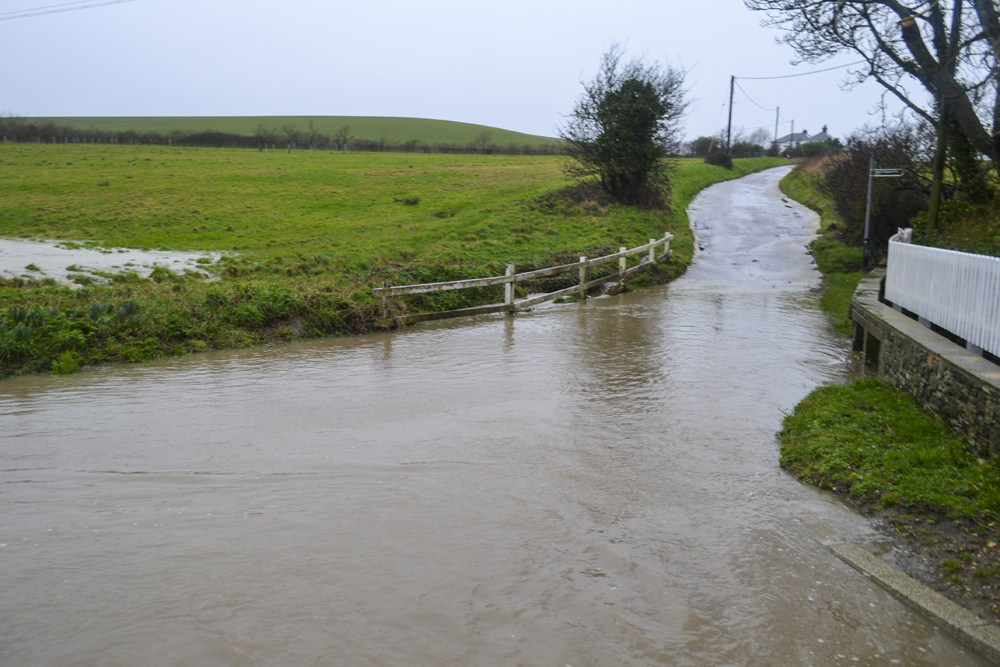 Southford Lane, Whitwell flooded.
