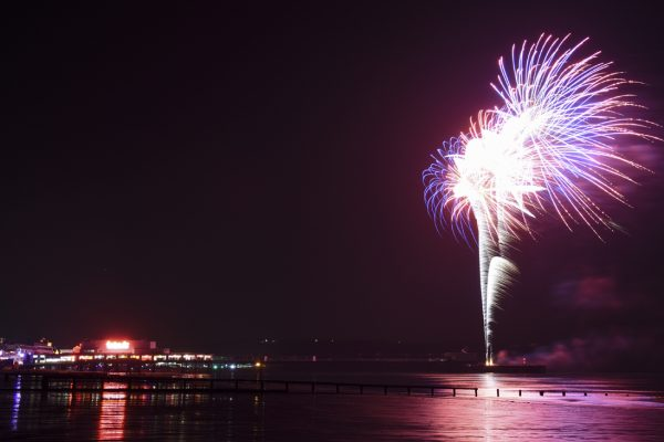Fireworks light up the skies at Sandown