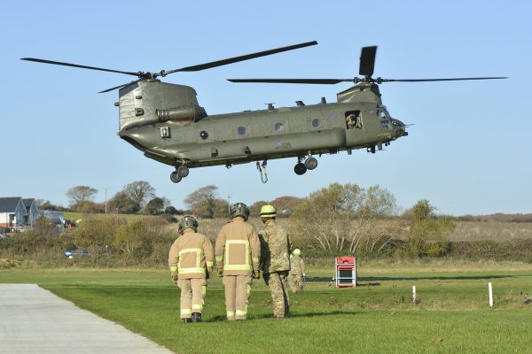 Chinook makes an appearance on the Isle of Wight during Multi-agency training exercise